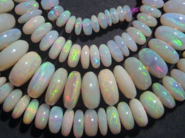 Exquisite Australian Lambina Opal Bead Strand, brilliant multicolours australian opal beads, opal beads, opal necklaces.