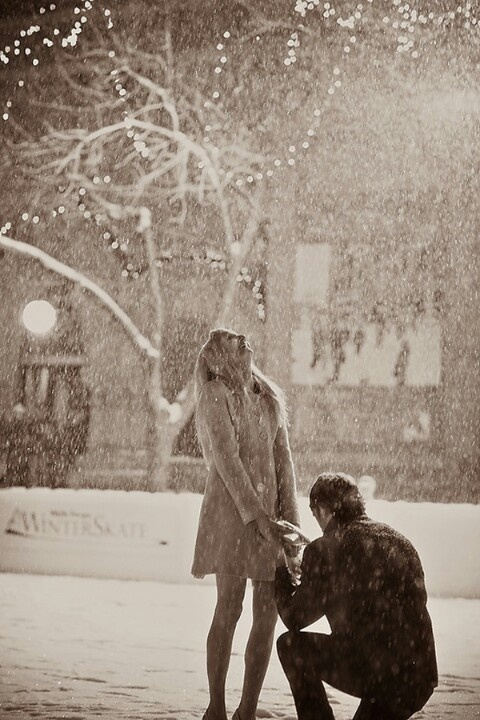 He's silly and proposes in the rain to me all the time, even after we are married just to make me laugh