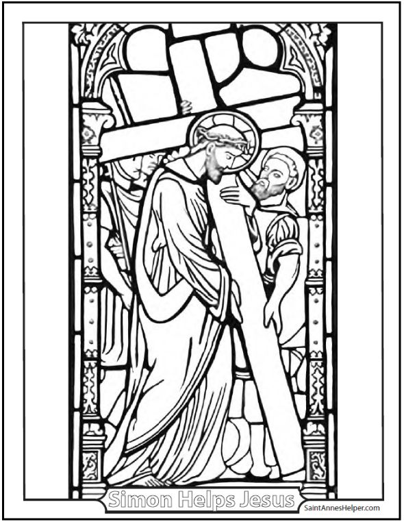 Carrying Of The Cross Coloring Page Stained Glass