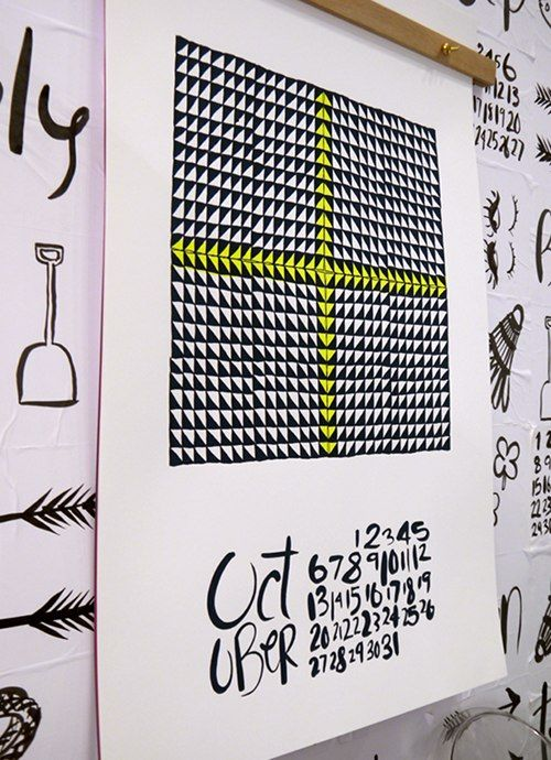 neon1: Design Inspiration, Quilts Calendar, National Stationery, Design Sponge, Calendar Design, Wall Calendar, Black Calendar, Geometric Patterns Design, Neon Triangles