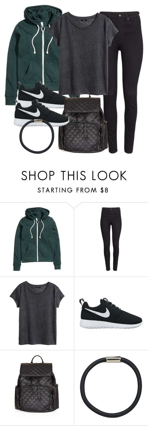 """""""School OOTD"""" by vany-alvarado ❤ liked on Polyvore featuring H&M, NIKE, Topshop and Hershesons"""