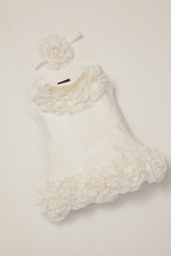 03eb74a64 0-12ms Baby Girl Dress Cotton Infant White Dress with Chiffon and Pearls