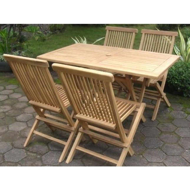 Sustainable 4 Seater Large Teak Rectangular Folding Table Set, With 4  Comfortable And Practical Outdoor Folding Teak Chairs.