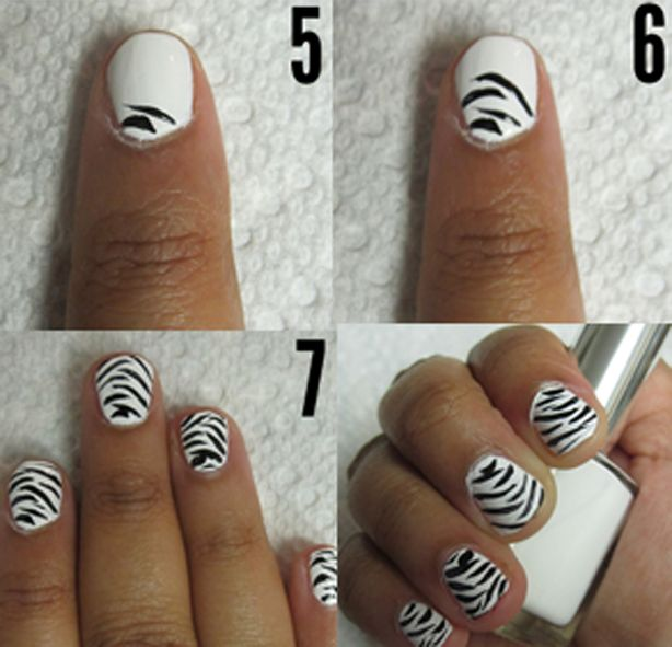 how+to+draw+a+mustache+on+your+nails | How to Paint Zebra Stripes on Nails at Home Without Nail Equipment ...