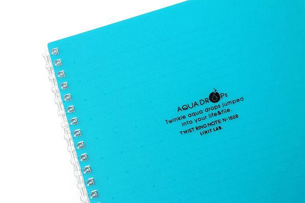 Lihit Lab Aqua Drops Twist Ring Notebook - Semi B5 - Lined - 30 Sheets - Blue Green - LIHIT LAB N-1608-28
