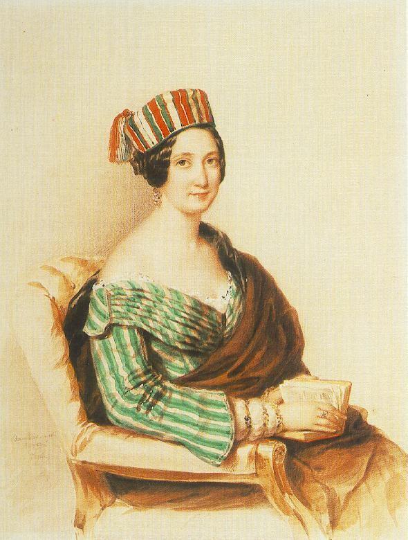 Woman in Striped Dress  by Miklós Barabás