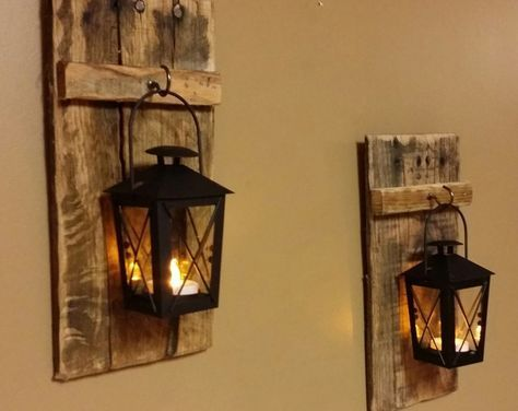 Rustic wood candle holder with lantern 12″ x 5″ , wood sconce, Mini candle holde… #WoodWorking