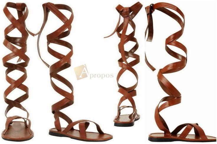 High Heel Sandale Damen Flats Elegant Römer Gladiator Braun Apropos