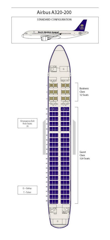 Saudi Arabian Airlines Airbus A320 200 Aircraft Seating Chart