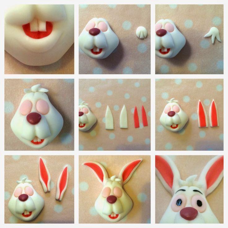 conejo en fimo, arcilla, porcelana, pasta flexible etc, paso a paso