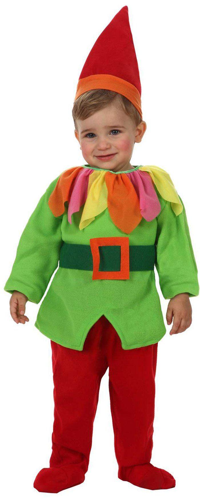 Disfraz de elfo duende bebé: Este disfraz de elfo para bebé está compuesto por una camiseta, un pantalón, un cinturón y un sombrero. La camiseta es verde claro, con pétalos de colores en el...