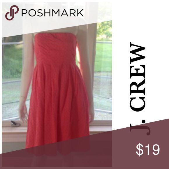 J. CREW coral Swiss dot short sundress strapless 6 100% cotton. Has Swiss dot- like texture. 100% cotton lining. Great cruise wear, comfy for hot weather, besides being stylish. Size 6. Excellent condition. J. Crew Dresses Strapless