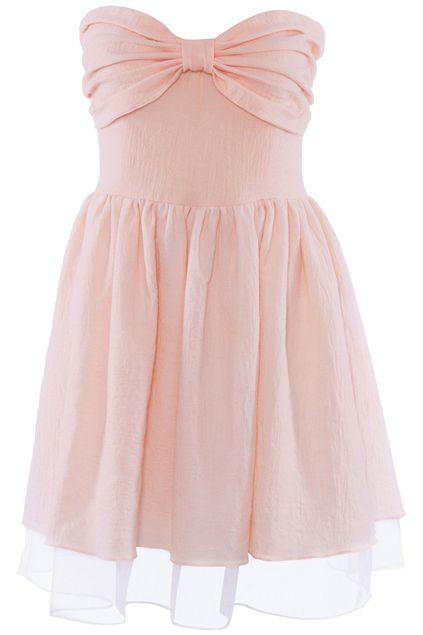 #ROMWEROCOCO ROMWE   Bow Embellished Pink Bandeau Dress, The Latest Street Fashion