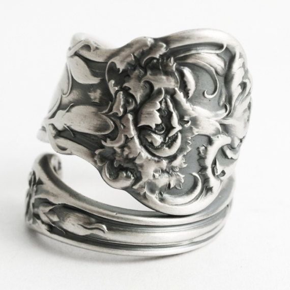 Unique Carnation Ring February Flower Ring Sterling Silver by Spoonier