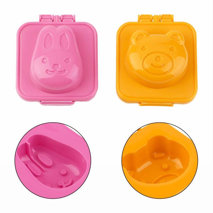 2pcs/set  New Arrival  Cute Cartoon Bear And Rabbit Boiled Egg Rice Mold Bento Sushi Mold Maker DIY Kitchen Tools Orange/Pink