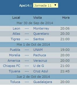 Calendario jornada 11 futbol mexicano  Http://vivoelfutbol.com