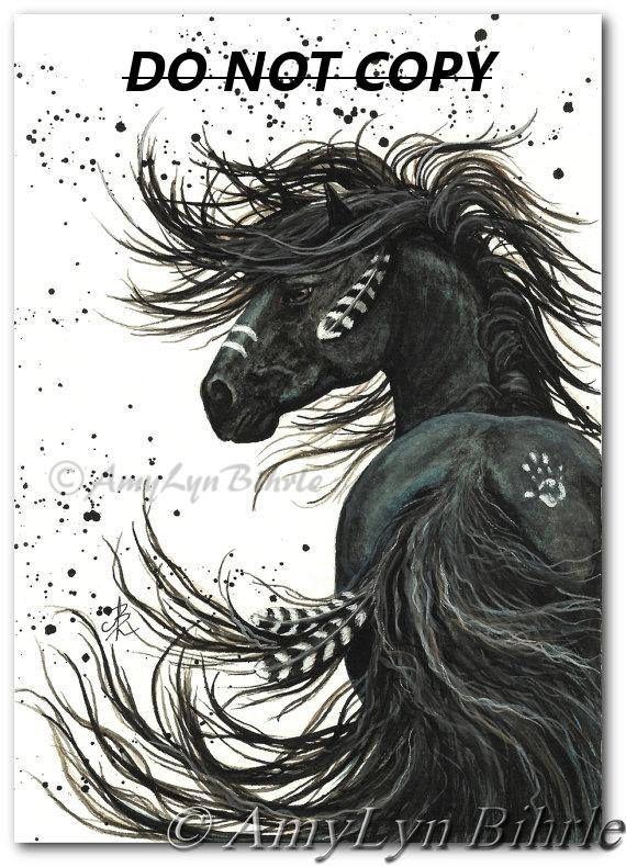 Majestic Horses – Black Spirit Horse Stallion Native Feathers Friesian – Prints by AmyLyn Bihrle mm65