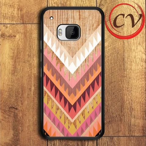 Wood Chevron Triangel Stripe HTC One M9 Black Case