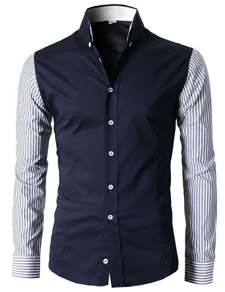 Doublju Men's Button Down Shirts With Stripe Patterned Long Sleeves (KMTSTL0124) #doublju
