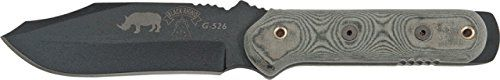 Tops Knives Black Rhino Tactical Fixed Blade Knife w/ Kydex Sheath