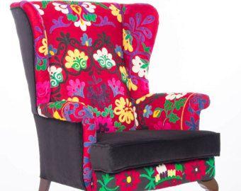 Mosaico de diseño de mano bordado Suzani Parker Knoll sillón sofá silla