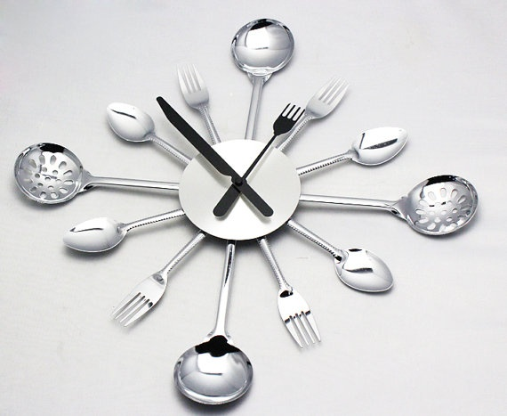 spoon fork creative designer kitchen wall clock - Designer Kitchen Wall Clocks