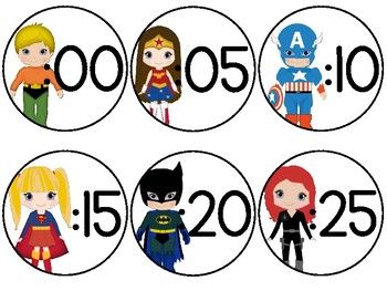 Enjoy this FREE file of Super Hero-themed clock numbers :00 - :55 from my Super Hero Décor SUPER Bundle! If you're interested in the bundle, check it out HERE!