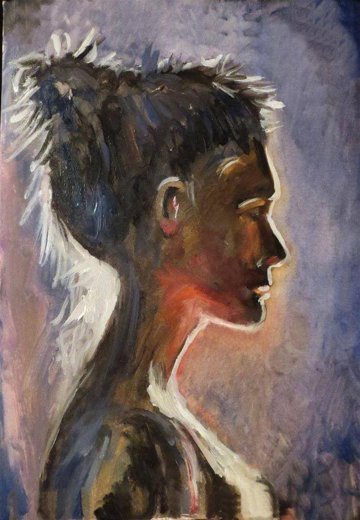 "painter Marko Sapiolko ""In the lamplight"" oil painting on canvas 40x50"