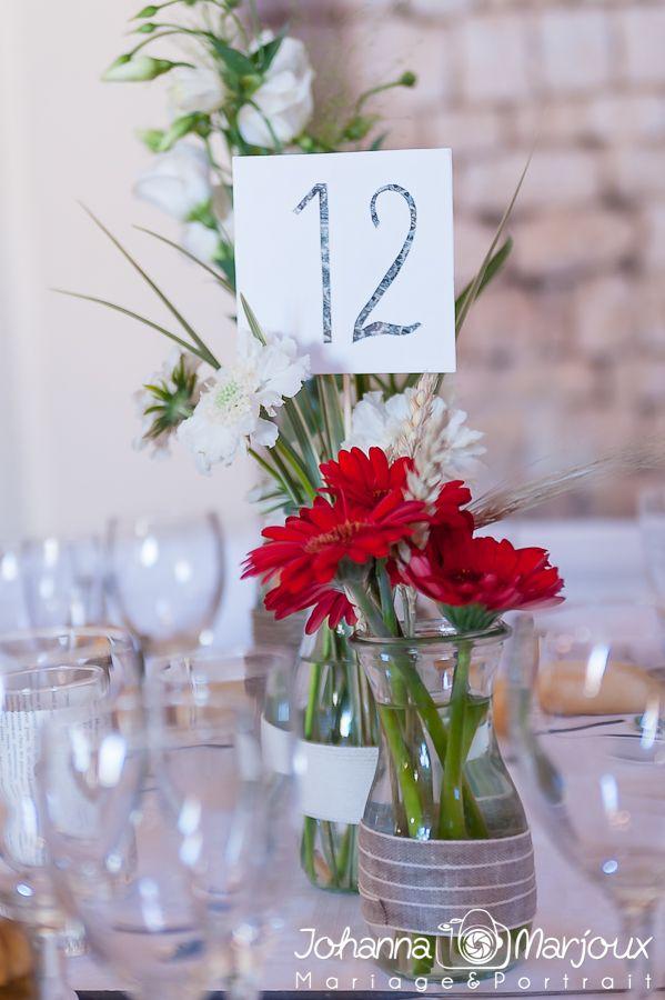 Simplicité des fleurs de table avec rubans autour très réussi au mariage de Vio