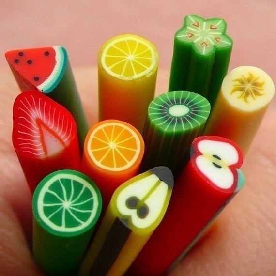 Polymer Clay Cane Fruit Assorted Canes Mix 10 pcs 2.5cm Long Mini Miniature Sweets Deco Kawaii Cupcake Fruit Tart Fimo Cane Nail Art  CMX039, $4.95