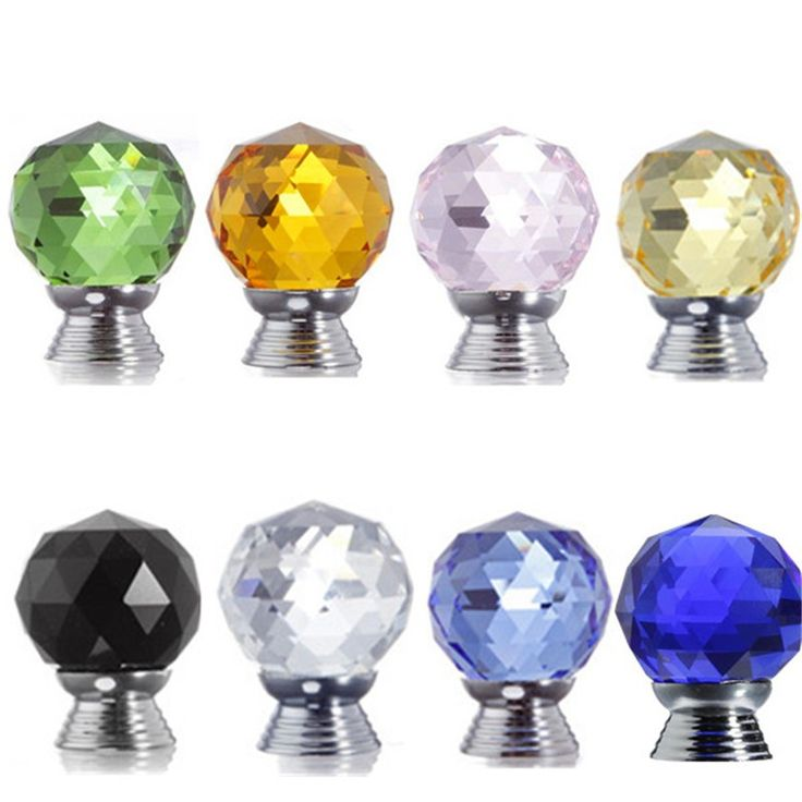 30mm Multicolor Choices Door Drawer Pull Handle Diamond Wardrobe Knobs Crystal Glass Alloy Cabinet Drop Cabinet Furniture Screw