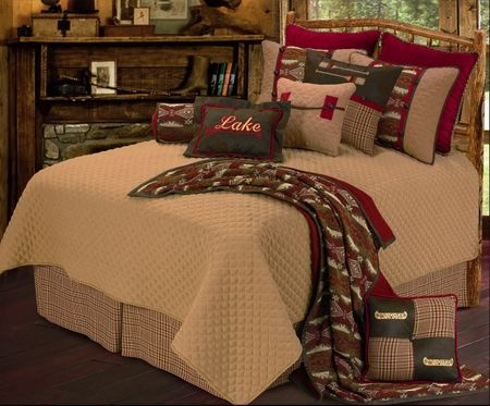 Brighten up the lake house with this colorful lake themed bedding.This  Queen size rustic