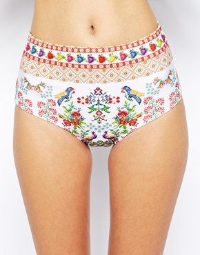 Enlarge ASOS Tapestry Print High Waisted Bikini Pant