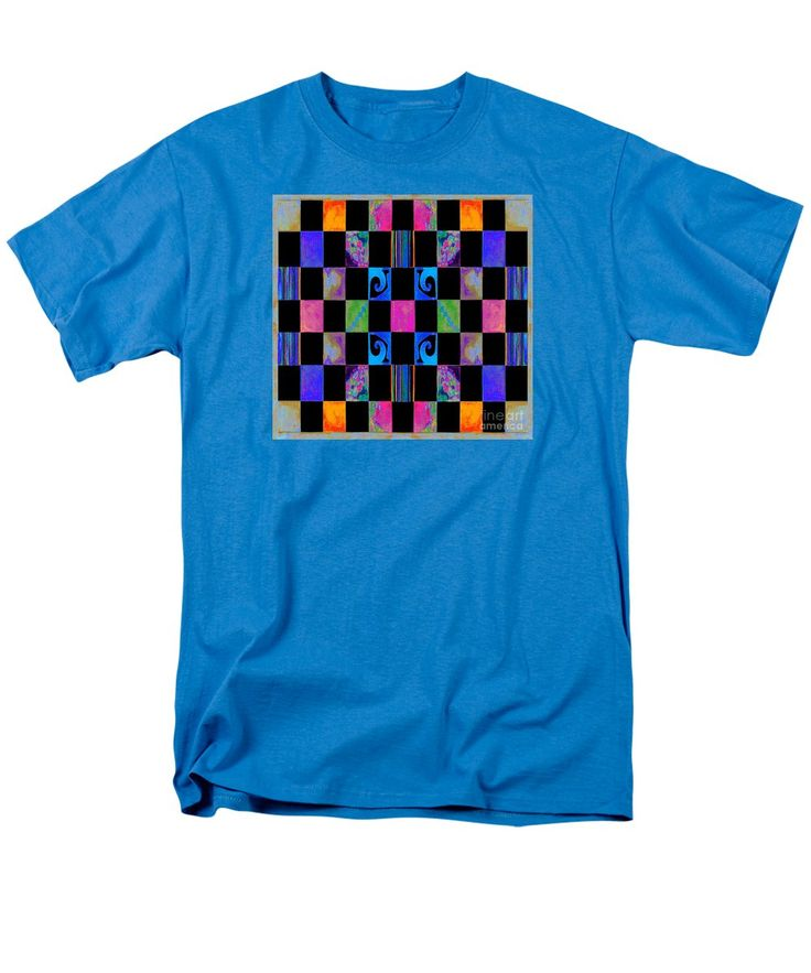 Colorful Checked Pattern Black Accented Digitally Manipulated Watercolor Men's T-Shirt (Regular Fit) featuring the painting #65 Dm Wtrclr by Expressionistart studio Priscilla Batzell