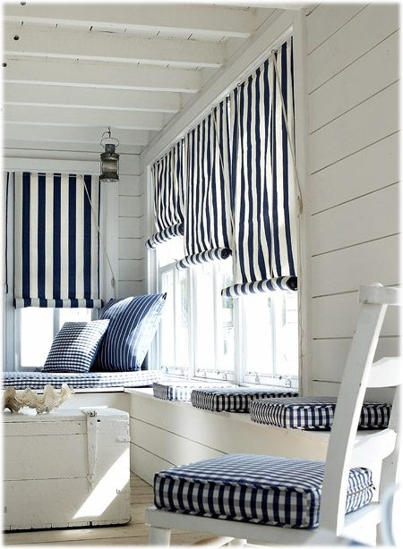 For the sun porch...shiplap, navy checks and stripes