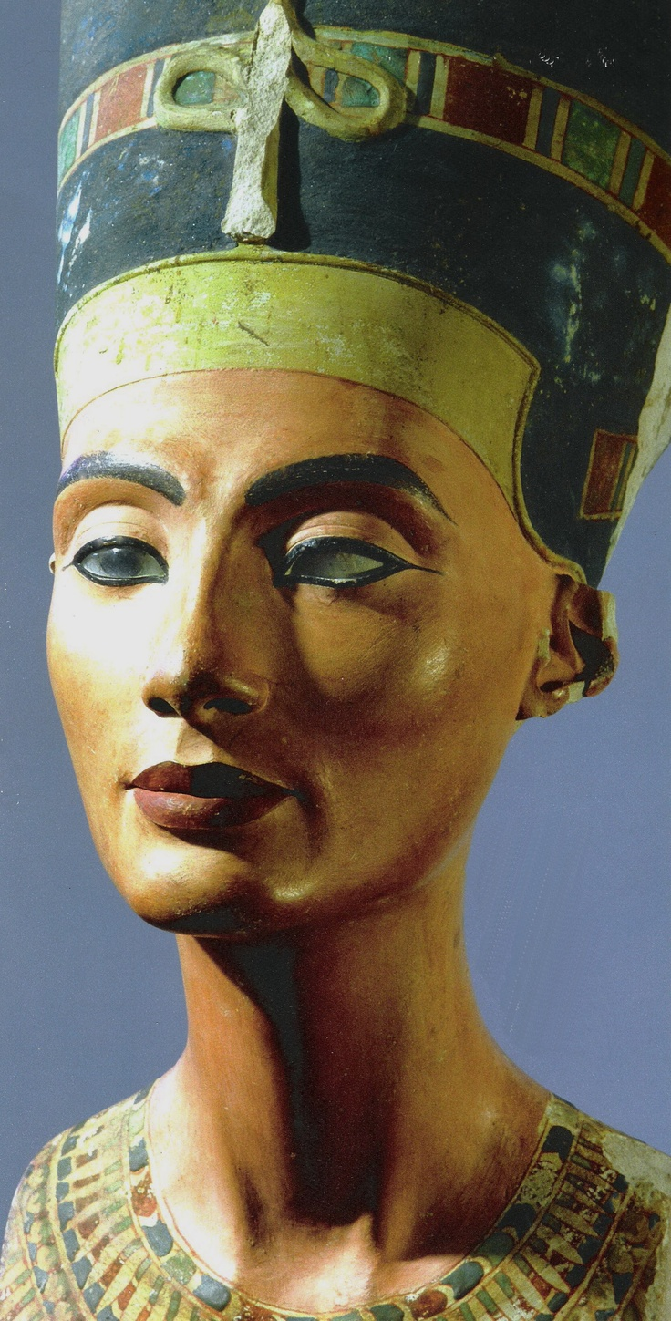 The crowned head of Nefertiti, wife of Akhenaton. The sculpture was made by the famous sculptor Thutmose and was found in his workshop. Country of Origin: Egypt. Culture: Ancient Egyptian. Date/Period: Amarna period c.1373-1357 BC. Place of Origin: Tell el Amarna. Material Size: Painted limestone. Credit Line: Werner Forman Archive/ Egyptian Museum, Berlin . Location: 48.