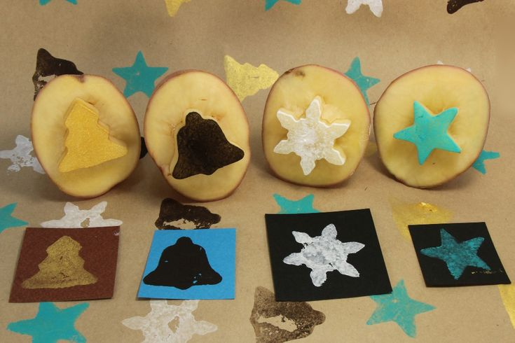 Potato stamps. How fun to make Christmas tags with these!