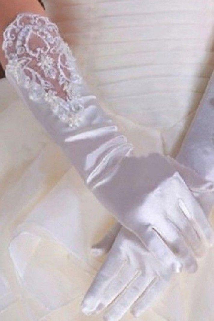 guanti sposa in raso e pizzo