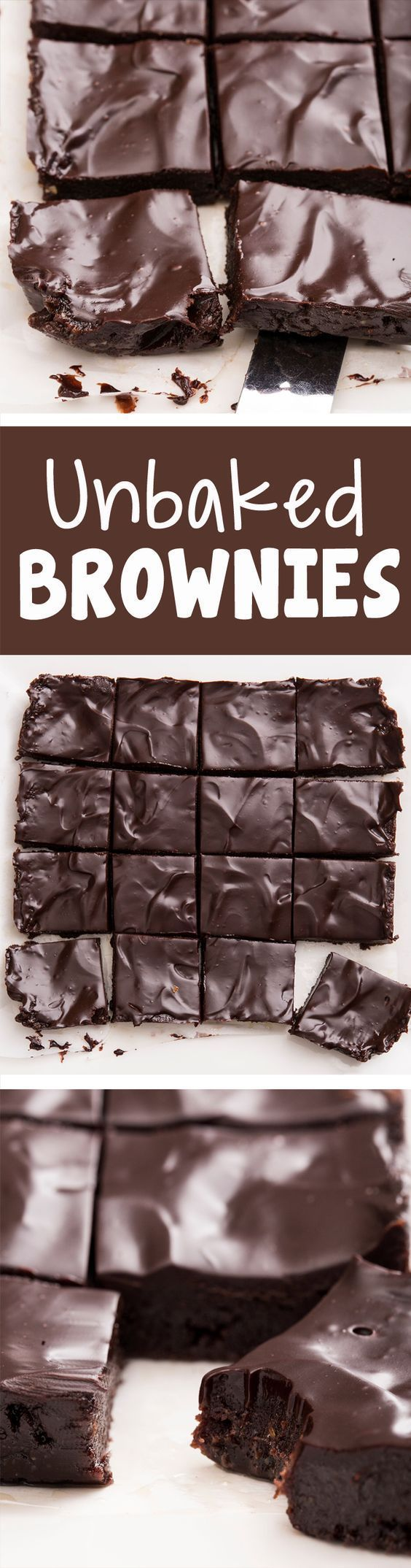 """Secretly healthy """"unbaked"""" brownies, from @Chocolate Covered Katie…"""