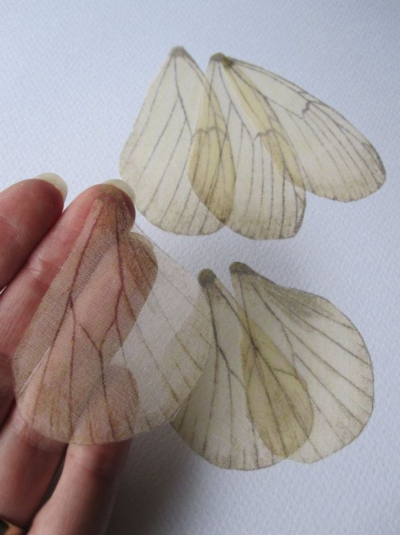 Hand-made silk organza butterfly wings. 6 pieces.  Wings length from 55mm to…