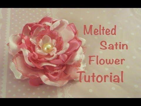 ▶ Melted Satin Flower Tutorial - YouTube....MUCH better melting technique