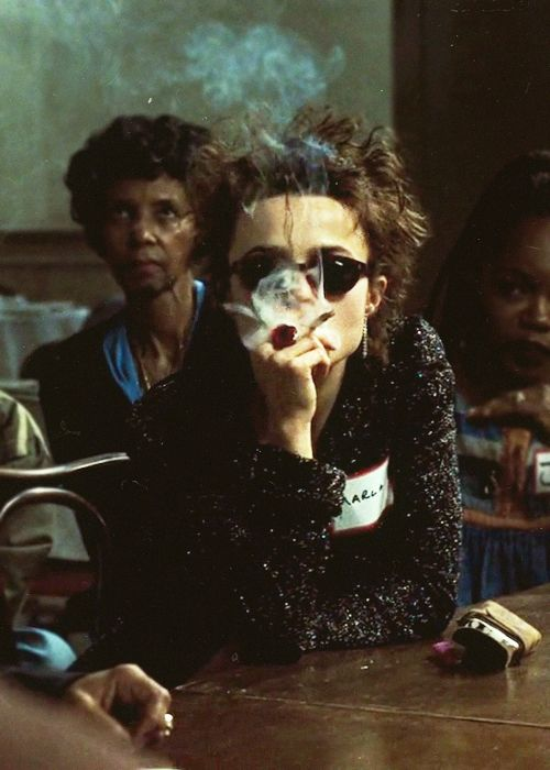 "Helena Bonham Carter as Marla Singer / Fight Club / Fun fact: the flower ring that Helena is wearing throughout the movie is a box ring. According to the actress in the DVD commentary it is supposed to be Marla's ""coke [cocaine] ring""."
