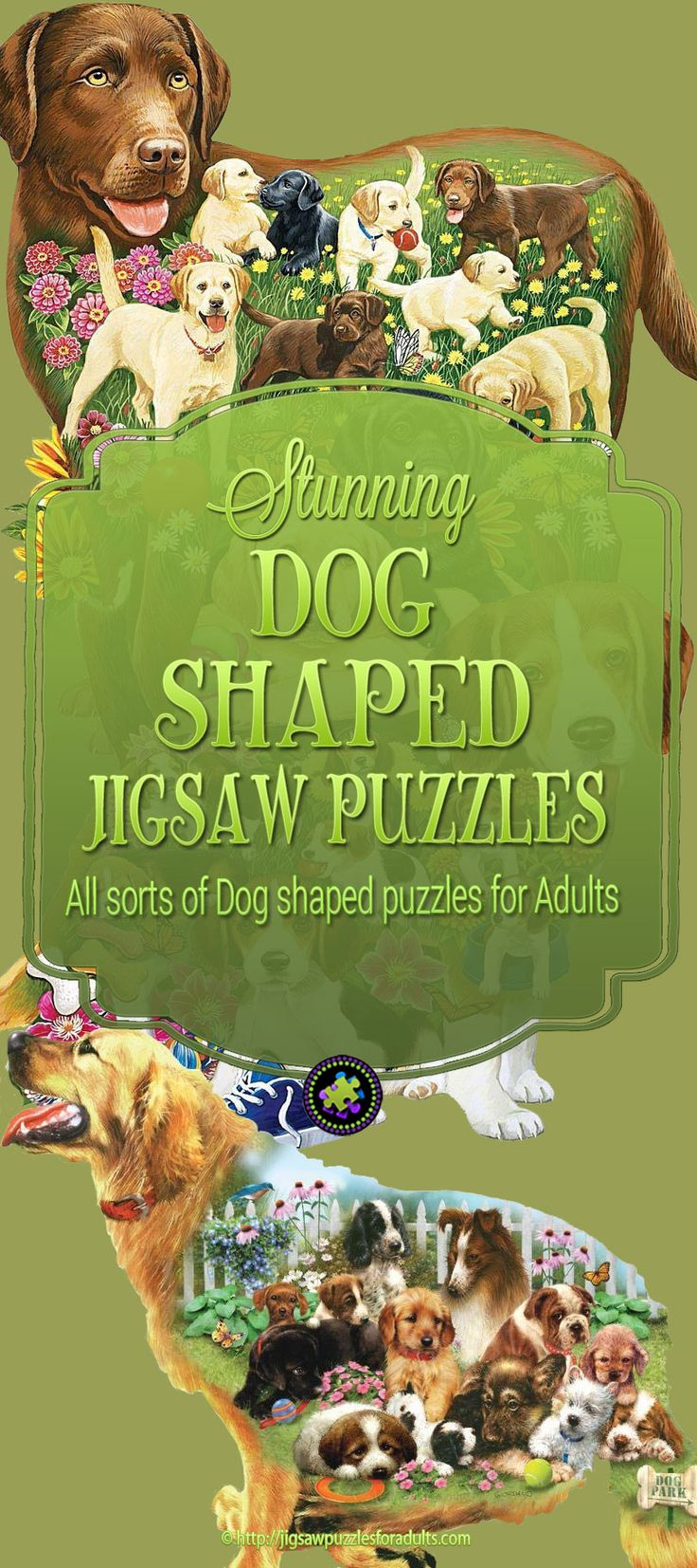 These beautiful Dog Shaped Jigsaw Puzzles are fun to put together with no straight edges they will give you the challenge you're looking for. Jigsaw puzzles that are shaped like dogs make the perfect gift for a dog loving avid jigsaw puzzler!