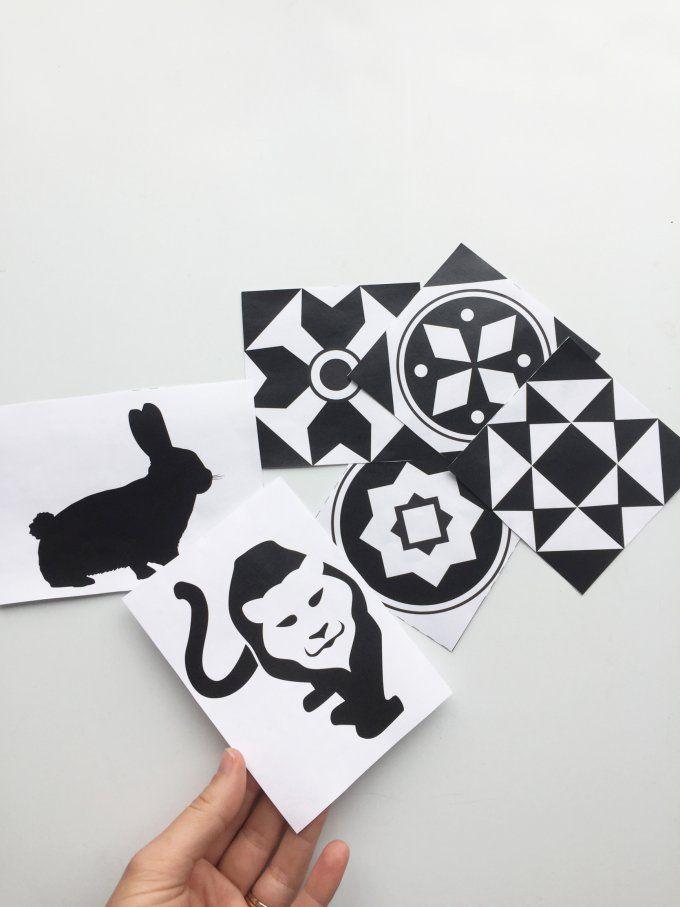 Des Cartes Déveil Montessori En Noir Et Blanc à Imprimer
