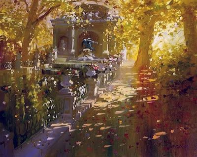 Painting by French artist Laurent Parcelier. Such beautiful light and shadow.