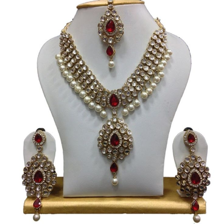 Indian Bollywood Gold Plated Red Stone Wedding Wear Women Necklace Set #natural_gems15 #GoldPlated