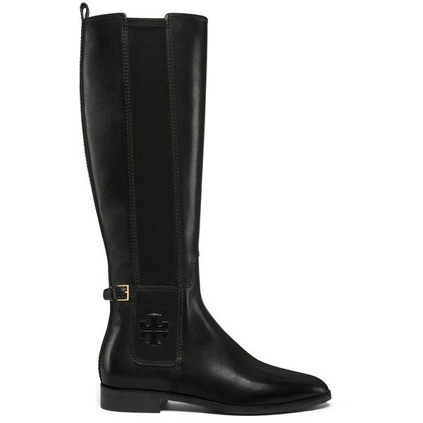 Tory Burch Wyatt Boots ($498) ❤ liked on Polyvore featuring shoes, boots, black, black boots, tory burch footwear, kohl shoes, anchor shoes and tory burch shoes