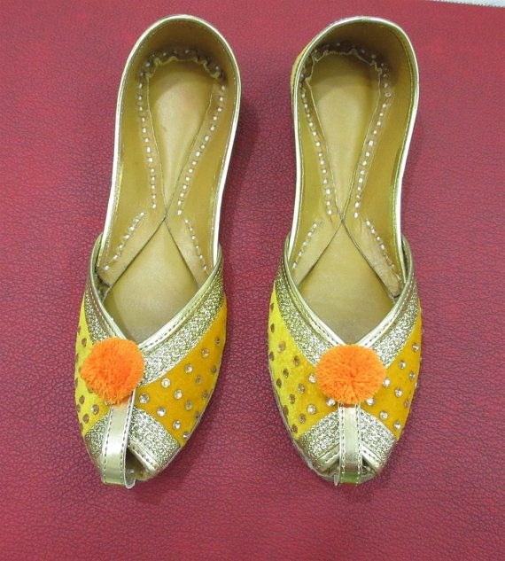 Yellow Flat Shoes For Women Leather Flat Shoes by BeautyShop21