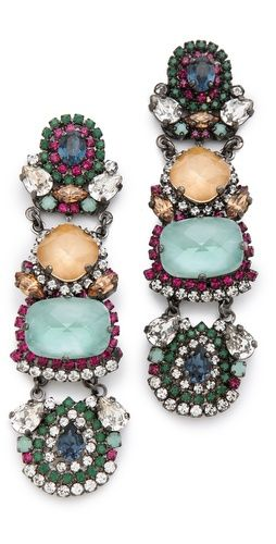 Super-embellished jewelry, like these earrings by Erickson Beamon