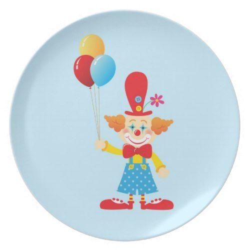 Circus Clown Birthday Melamine Plate